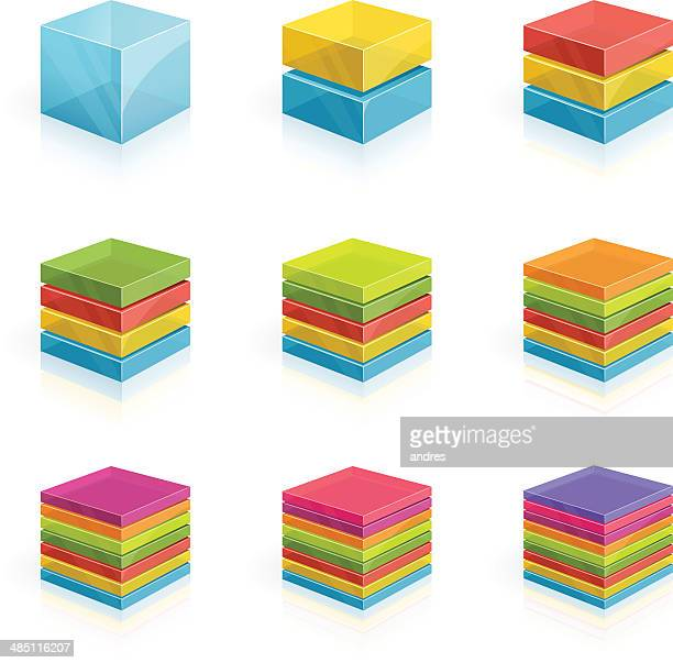 Cubes divided into two to nine rows- 3D series