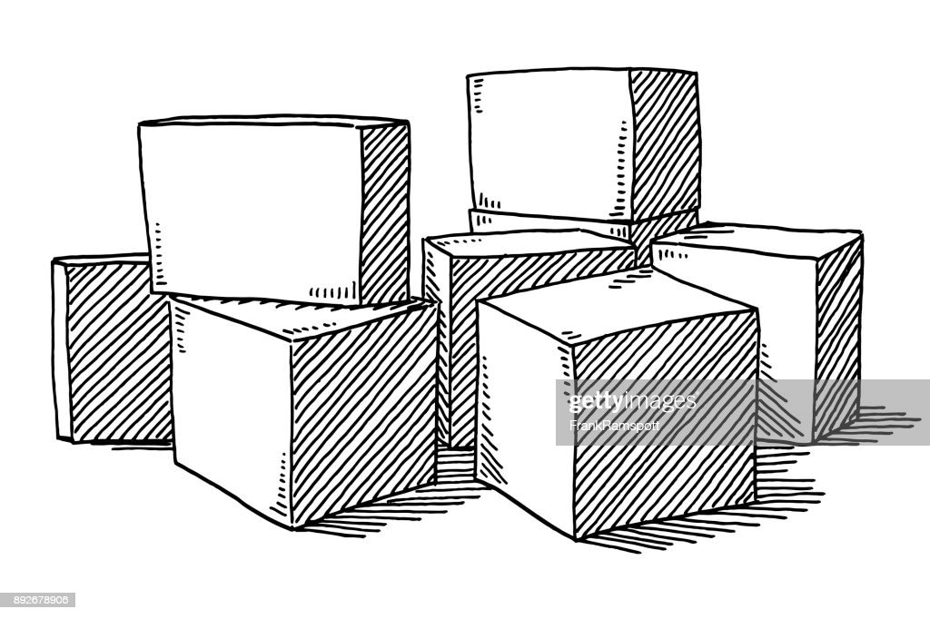 Cubes Standing On The Floor Drawing : Stock Illustration
