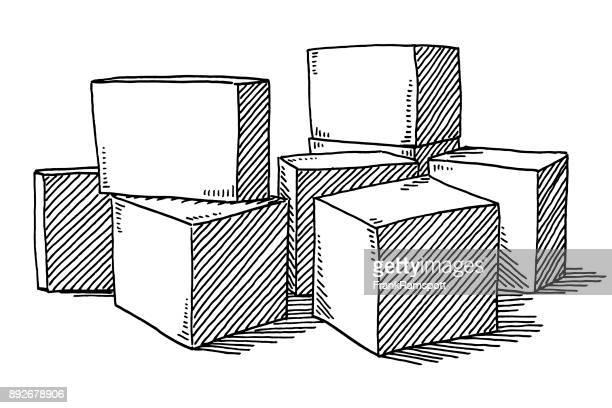 würfel auf die zeichnung der stock stehend - konturzeichnung stock-grafiken, -clipart, -cartoons und -symbole