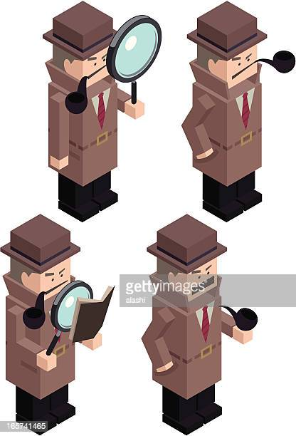 cubic detective inspector with magnifier and pipe - exercise book stock illustrations