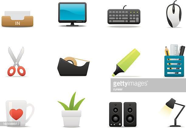 cubicle & desktop icons | premium matte series - desk organizer stock illustrations, clip art, cartoons, & icons