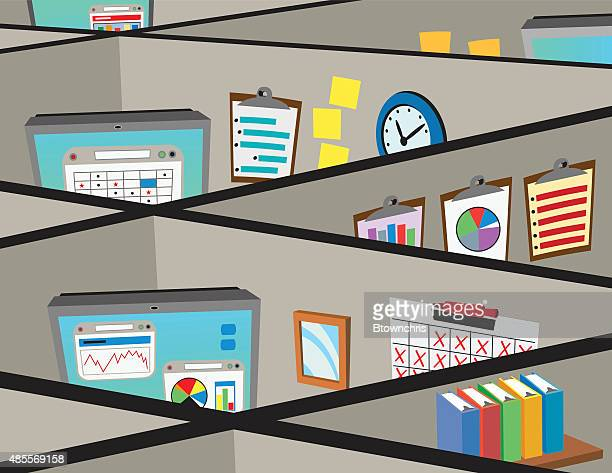 cubicles - office cubicle stock illustrations, clip art, cartoons, & icons