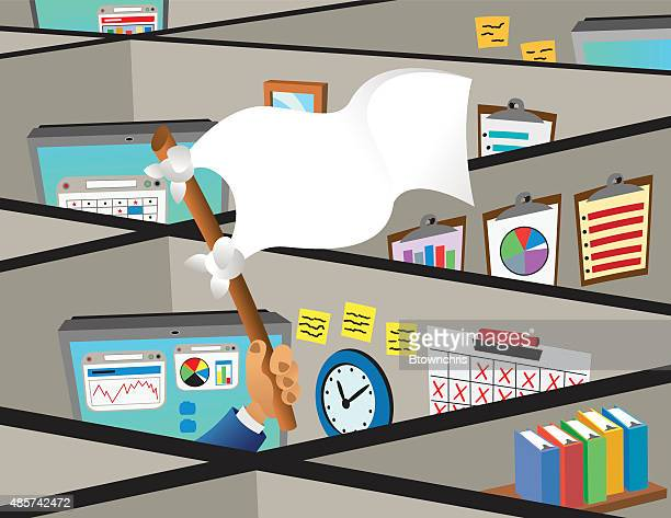 cubicles with surrender flag - office cubicle stock illustrations, clip art, cartoons, & icons
