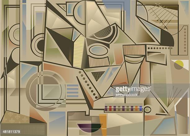 cubist background - pablo picasso stock illustrations