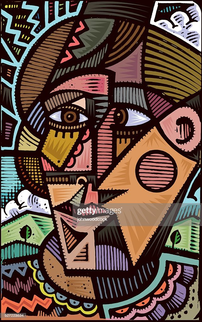 Cubist doodle illustration : Stock Illustration