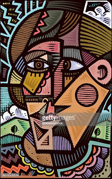cubist doodle illustration - art stock illustrations