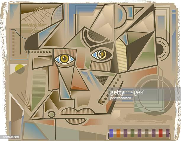 cubist face - pablo picasso stock illustrations