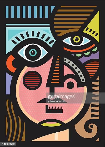 Cubist female head illustration