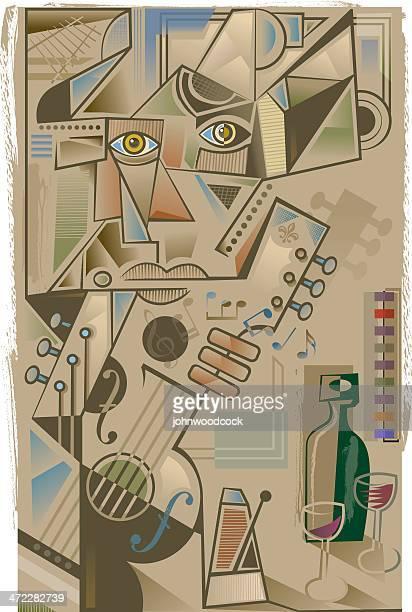cubist guitarist - pablo picasso stock illustrations