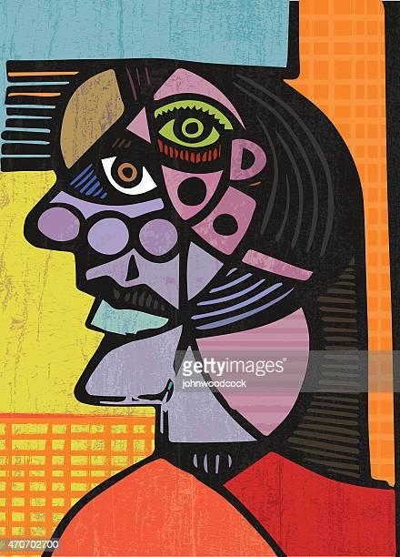cubist head illustration - pablo picasso stock illustrations