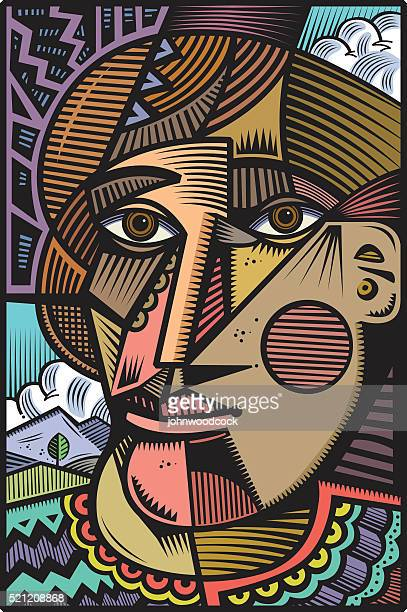 Cubist head illustration