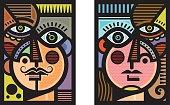 Cubist heads illustration