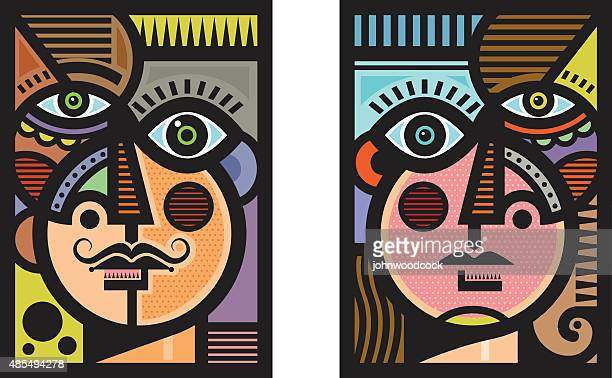 cubist heads illustration - anthropomorphic stock illustrations, clip art, cartoons, & icons
