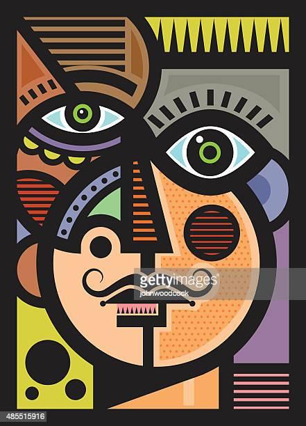 Cubist male head illustration