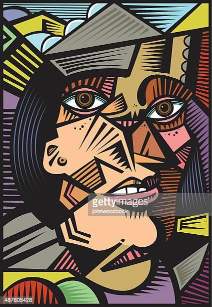 Cubist portrait illustration