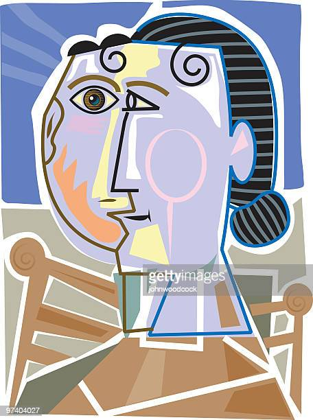 cubist woman - pablo picasso stock illustrations