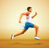 Cubistic, polygonal illustration of runner