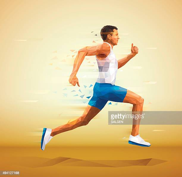 cubistic, polygonal illustration of runner - sportsperson stock illustrations