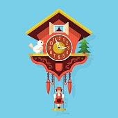 Cuckoo clock flat style vector illustration