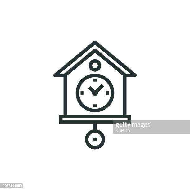 cuckoo clock line icon - tradition stock illustrations