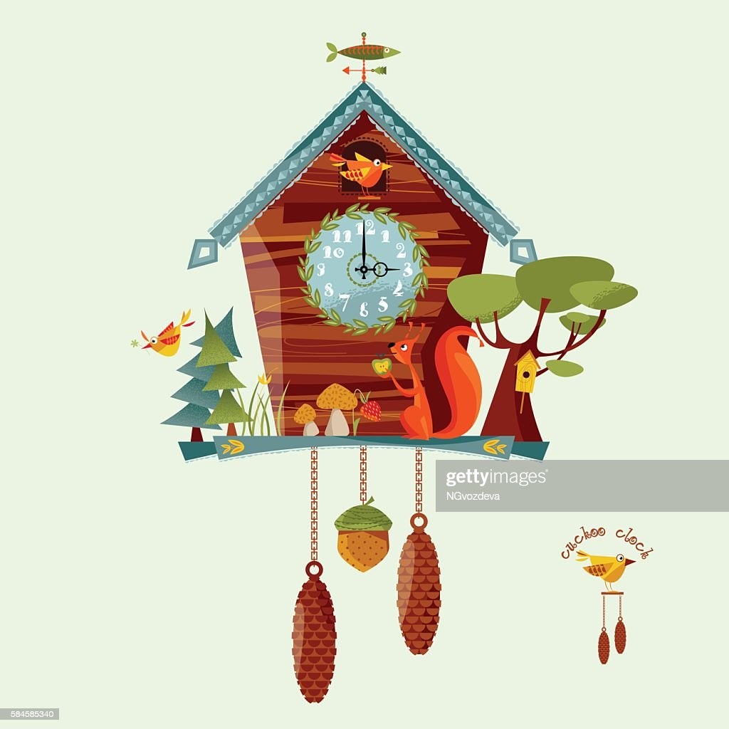 Cuckoo clock with a squirrel, trees, berries, mushrooms. Rural style.