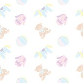 Cuddly toys. Seamless pattern in pale colors.