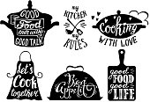 Cuisine short phrases and quotes, vector hand drawn illustration