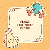 Culinary recipe card with cook cap and apron