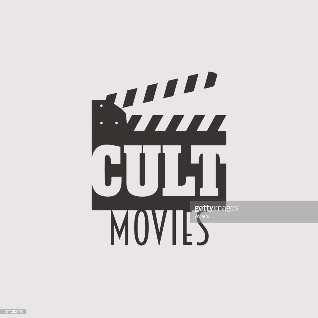 Cult movies vector logo, symbol or emblem design concept with clapperboard