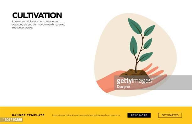 webバナー、広告・マーケティング資料、オンライン広告、ビジネスプレゼンテーション等の栽培コンセプトベクトルイラストレーション - スマート農業点のイラスト素材/クリップアート素材/マンガ素材/アイコン素材