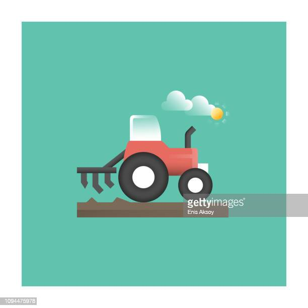 cultivator icon - harrow agricultural equipment stock illustrations, clip art, cartoons, & icons