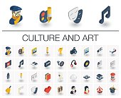 Culture and art isometric icons. 3d vector