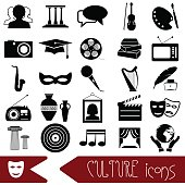 culture and art theme black simple icons set eps10