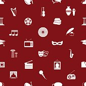 culture and art theme red and white seamless pattern