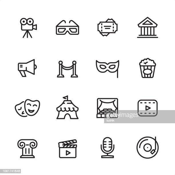illustrazioni stock, clip art, cartoni animati e icone di tendenza di culture & entertainment - outline icon set - culture