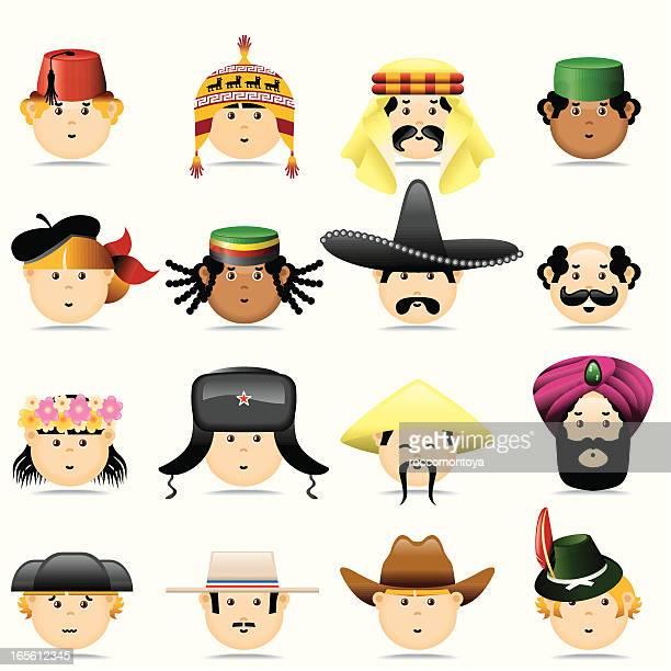 ilustrações, clipart, desenhos animados e ícones de culturas rostos. - cultura russa