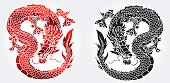 Cunning Asian black and red dragon on white