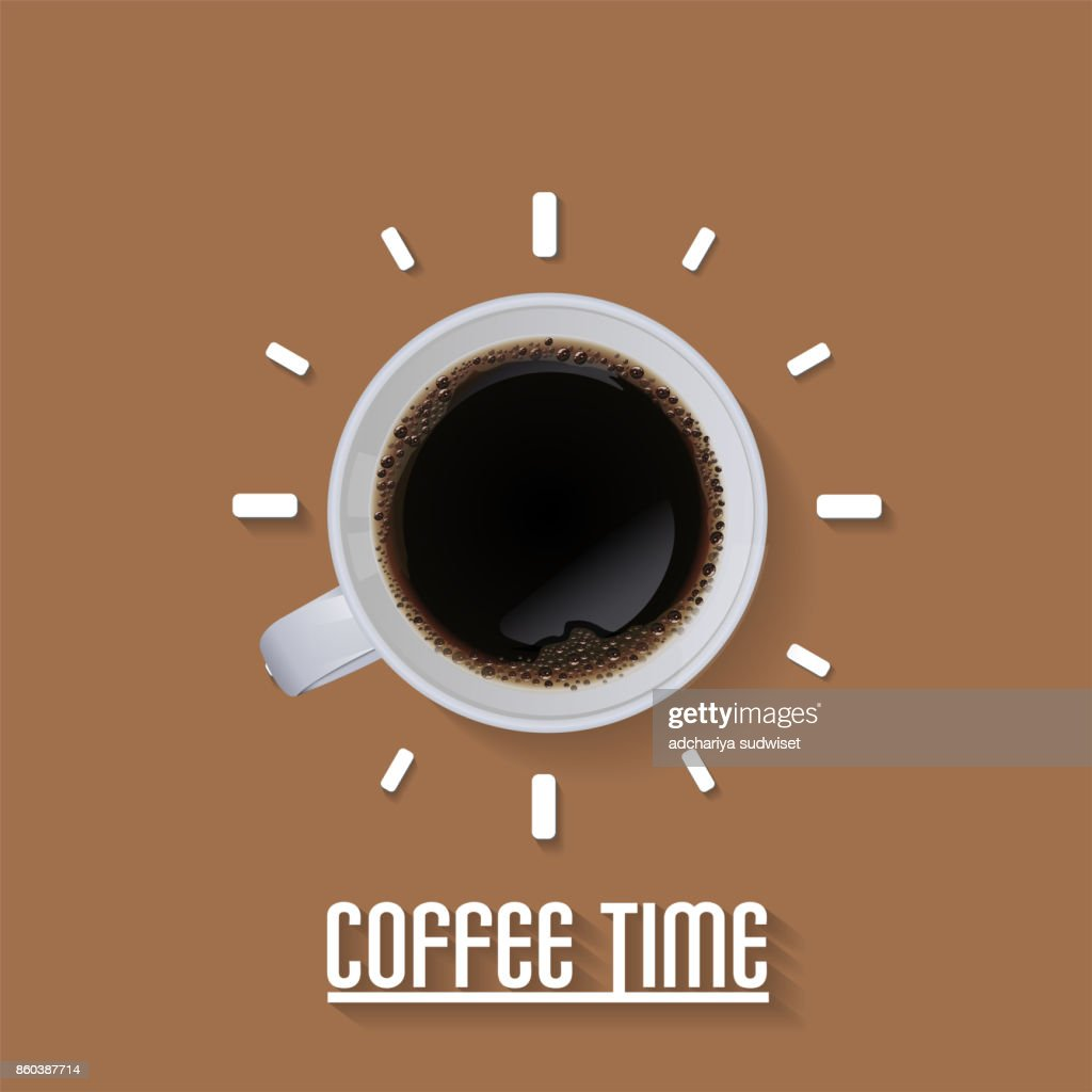 Cup a coffee time concept isolated on brown background, vector illustration.