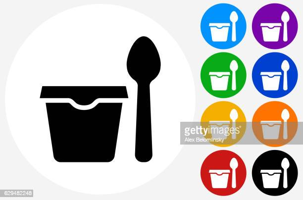 cup and spoon icon on flat color circle buttons - serving size stock illustrations, clip art, cartoons, & icons