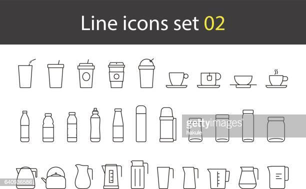 cup, glass, bottle, kettle simple icons set, vector