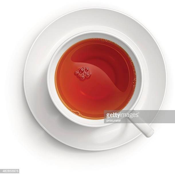 cup of black tea - looking down stock illustrations, clip art, cartoons, & icons