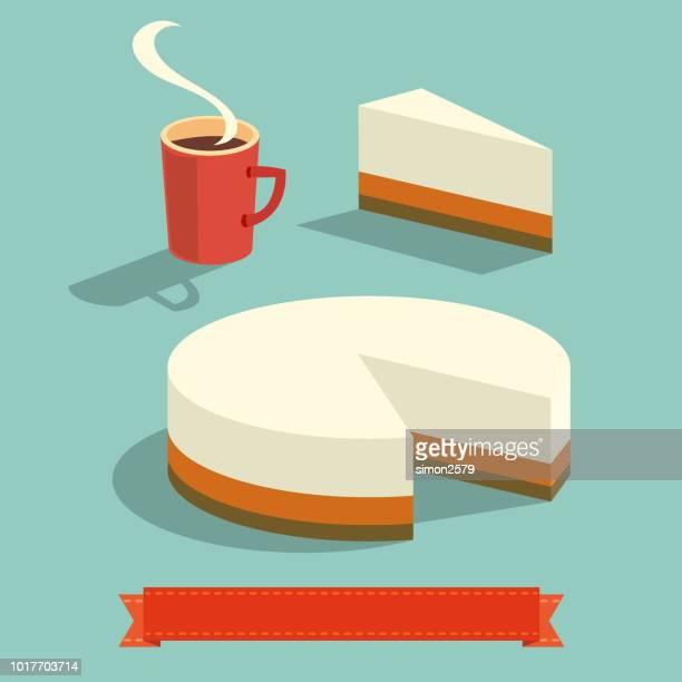 一杯のコーヒーとチーズケーキ - チーズケーキ点のイラスト素材/クリップアート素材/マンガ素材/アイコン素材
