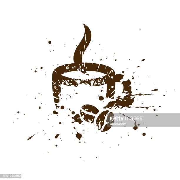 コーヒーとコーヒー豆のグランジイラストのカップ - ロースト点のイラスト素材/クリップアート素材/マンガ素材/アイコン素材