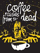 Cup of coffee and zombie in the cemetery at night