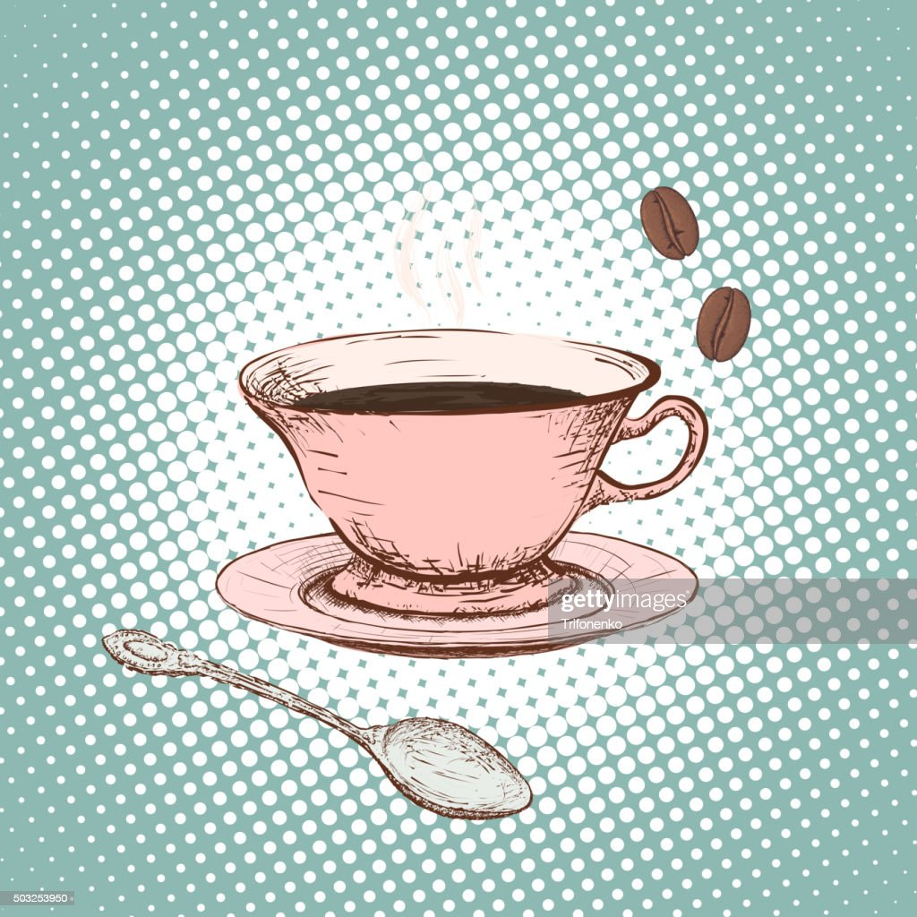 Cup of coffee. Doodle image.