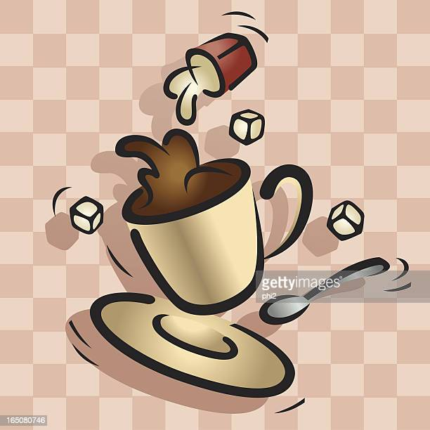 Cup of Coffee in Mid Air Vector