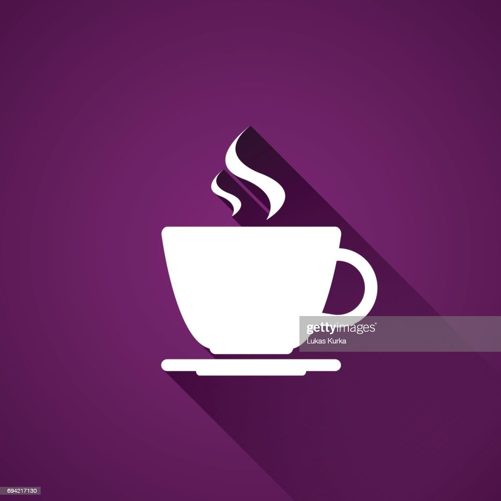 Cup of coffee on purple background, simple vector icon