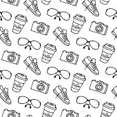 Cup of coffee on takeaway, glasses, camera, sneakers seamless pattern.