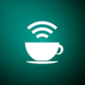 Cup of coffee shop with free Wi-Fi zone icon isolated on green background. Internet connection placard sign. Flat design. Vector Illustration