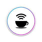 Cup of coffee shop with free Wi-Fi zone icon isolated on white background. Internet connection placard sign. Circle white button. Vector Illustration